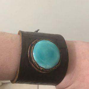 Jewelry - Leather Cuff Bracelet With Stone